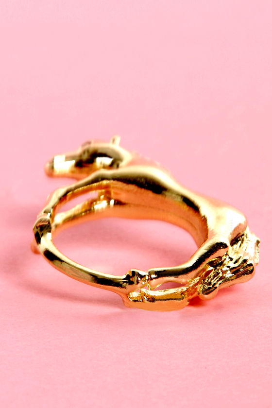 Girls and Horses Gold Horse Ring at Lulus.com!