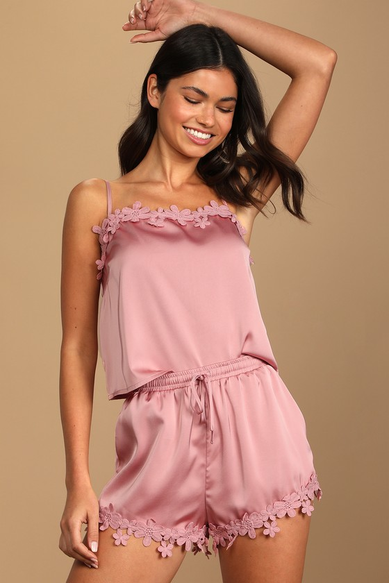 Ready for Bed Dusty Rose Satin Two-Piece Sleep Set