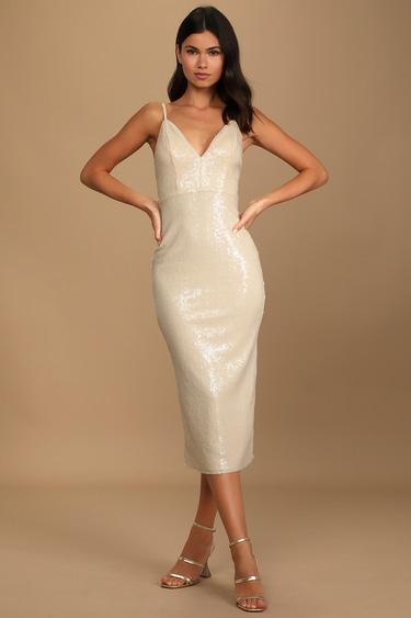 Magnetic Force Beige Sequin Sleeveless Midi Dress