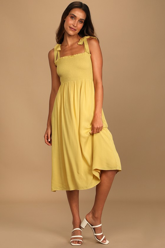Looking Up Yellow Smocked Tie-Strap Midi Dress