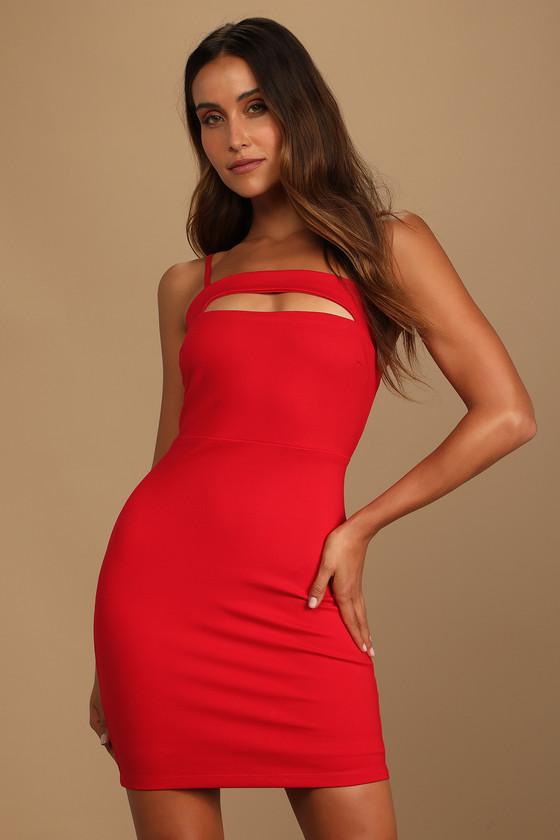 Lulus | Daring Behavior Red Cutout Bodycon Mini Dress | Size Large | 100% Polyester