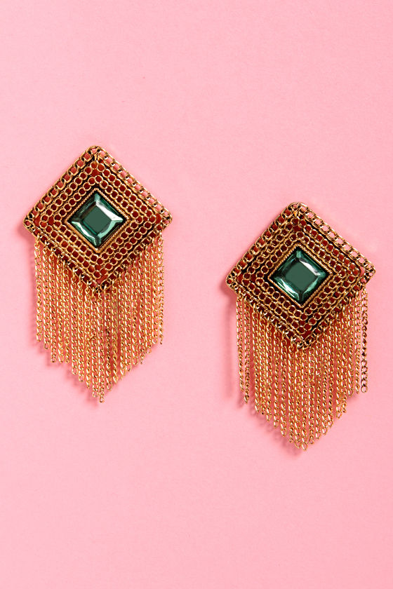 Auntie Emerald Gold and Green Earrings at Lulus.com!