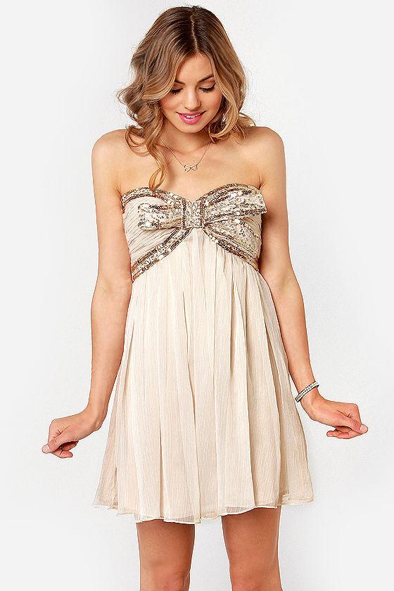 Lovely Strapless Dress - Beige Dress - Sequin Dress - $92.00