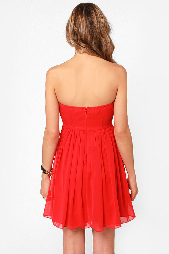 Celebrate-y Style Strapless Red Dress at Lulus.com!
