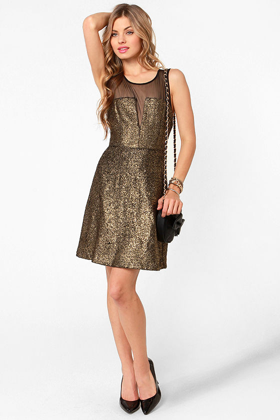Aryn K Gild-y Party Black and Gold Dress at Lulus.com!