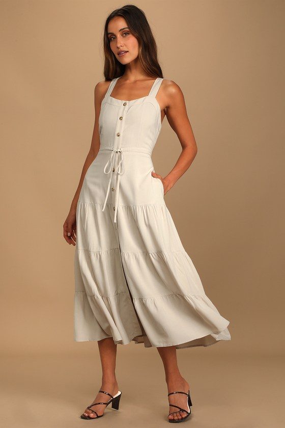 See the City Beige Button-Front Tiered Midi Dress