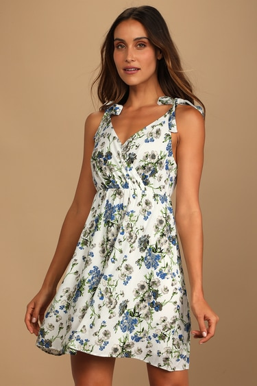 Let Your Love Grow White Floral Print Tie-Strap Mini Dress