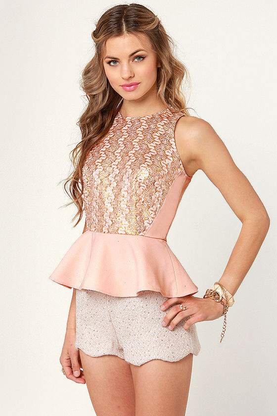 Sparkling Lot Gold and Light Pink Glitter Top at Lulus.com!