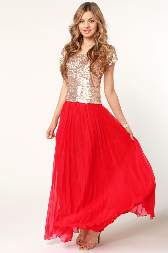 Pleat Tectonics Pleated Red Maxi Skirt at Lulus.com!