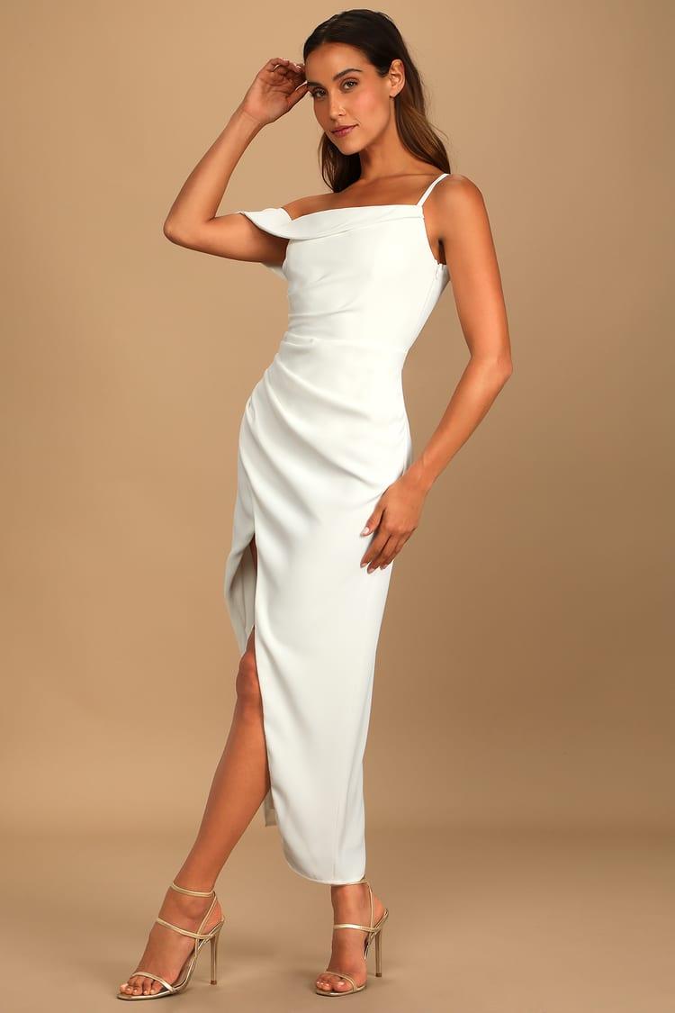 Showing Off a Little White Asymmetrical Tulip Midi Dress
