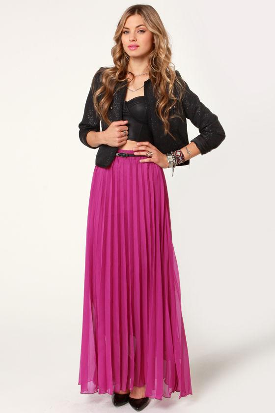 77c8dbb760 Pretty Pleated Skirt - Fuchsia Skirt - Maxi Skirt -  44.00