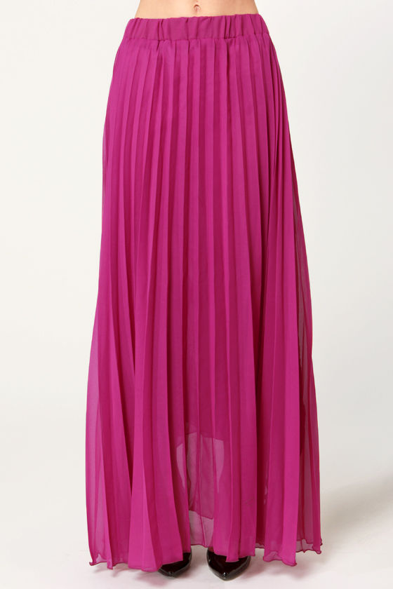 Pleat Tectonics Pleated Fuchsia Maxi Skirt at Lulus.com!
