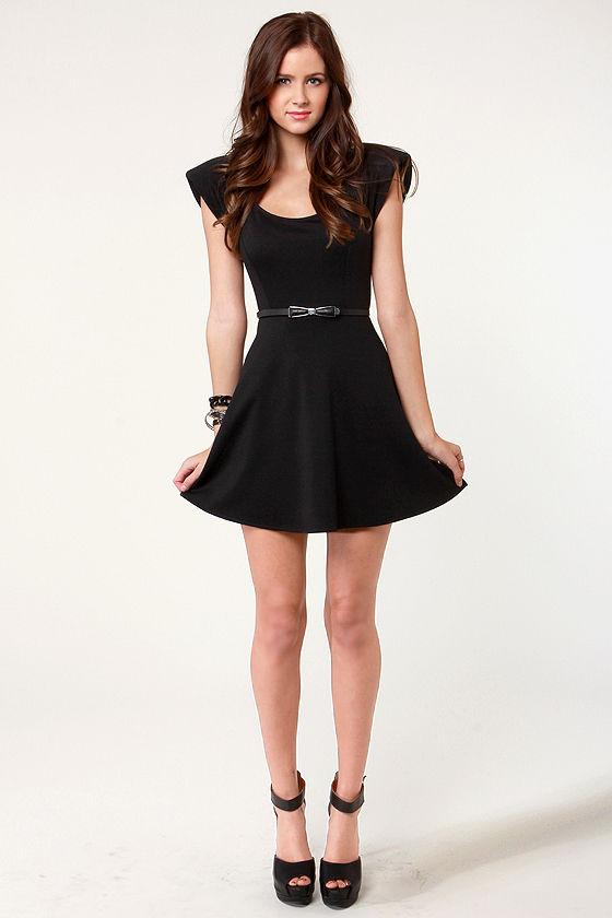 Cute Black Dress - Skater Dress - Shoulder Pad Dress - $37.50