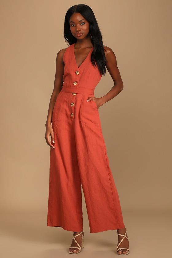 Lulus   Stroll the Pier Rust Orange Button Front Wide-Leg Jumpsuit   Size Medium   100% Rayon