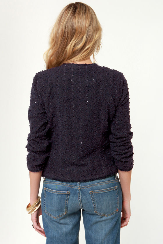 Sequin-ter's Day Navy Blue Jacket at Lulus.com!