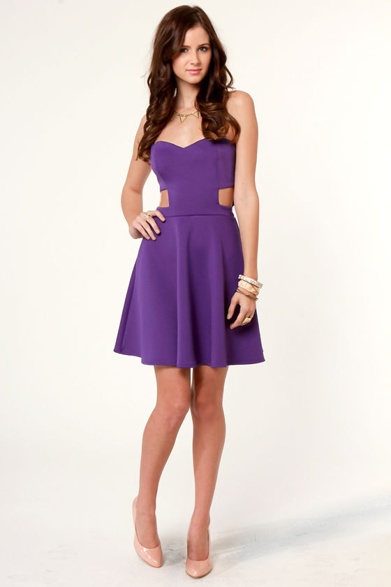 Spaced Makes Waist Strapless Purple Dress at Lulus.com!