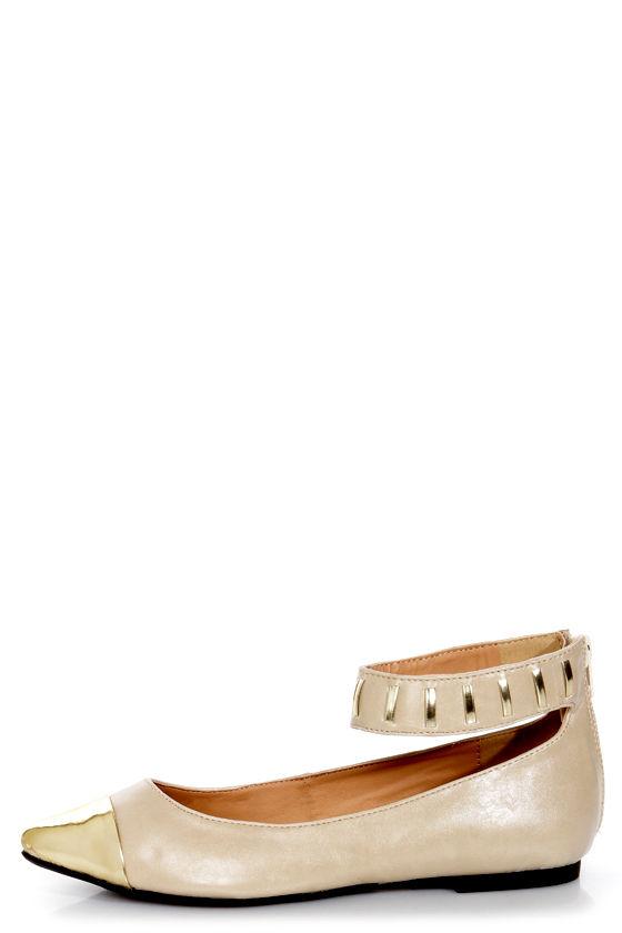 e205fed649013 Promise Freida Nude and Gold Pointed Cap-Toe Flats -  29.00