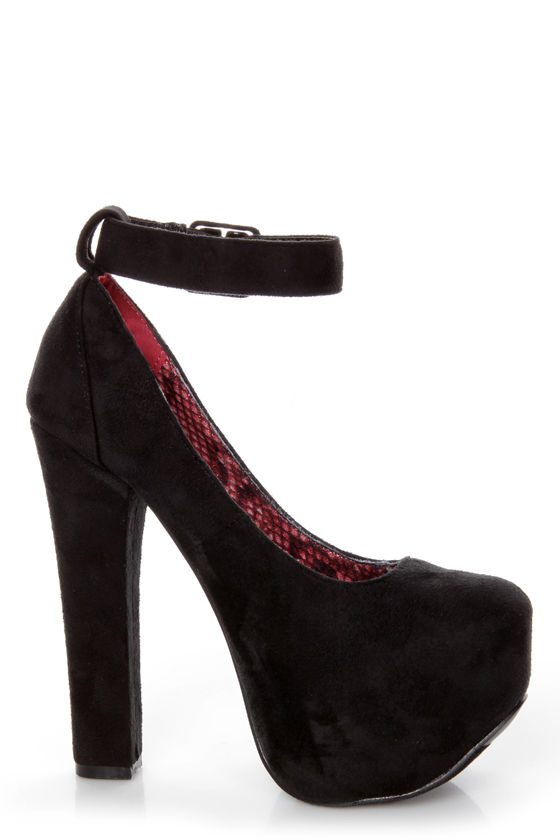 Promise Mendoza Black Ankle Strap High Platform Heels at Lulus.com!