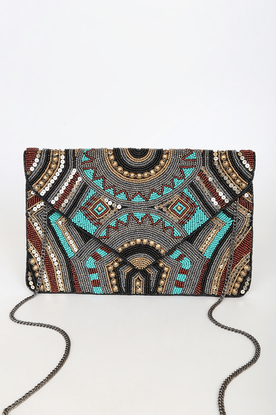 Lulus   Beading The Best Teal Multi Beaded Sequin Clutch   100% Cotton