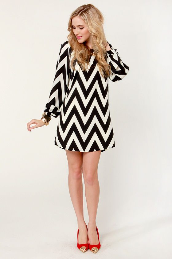 Zag Along Black and Ivory Striped Dress at Lulus.com!