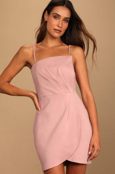 Drinks On Me Mauve Pink Sleeveless Pleated Bodycon Dress