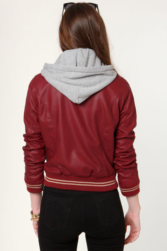Obey Varsity Lover Red Hooded Jacket at Lulus.com!