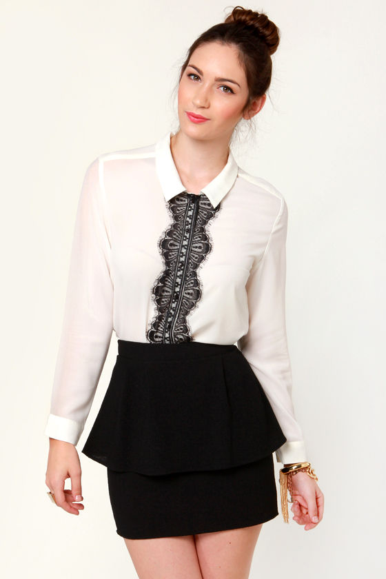 Banded Together Ivory Button-Up Top at Lulus.com!