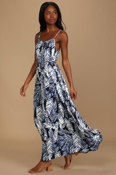 Floatin' By Navy Blue Leaf Print Sleeveless Maxi Dress