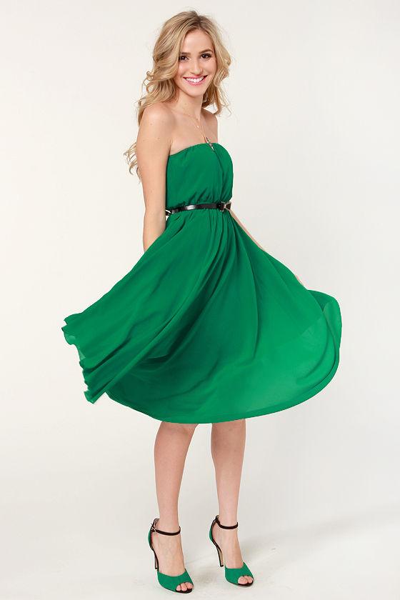 Bows of Holly Strapless Green Dress at Lulus.com!