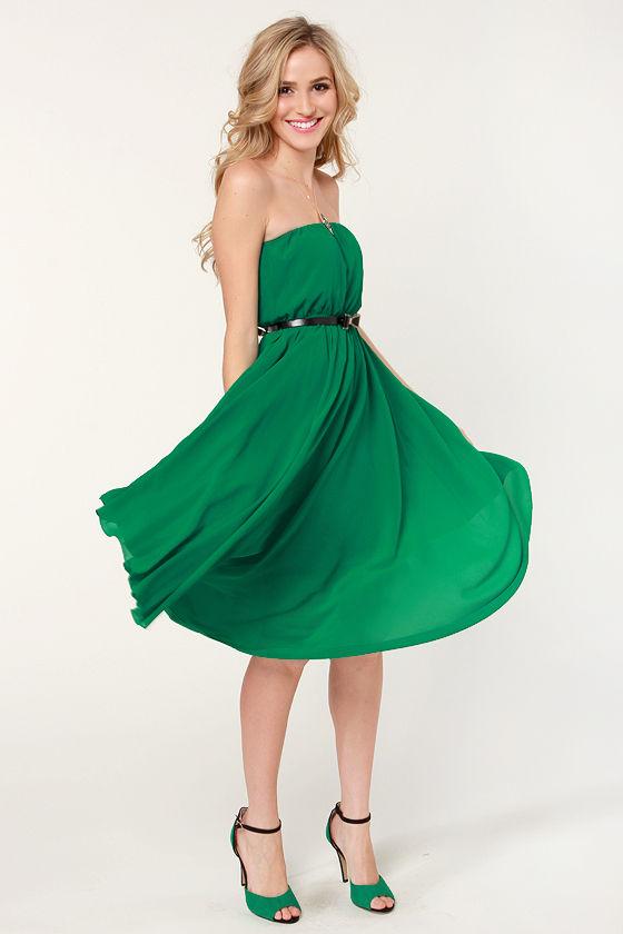 2d28febee55 Cute Strapless Dress - Green Dress - Midi Dress -  47.00