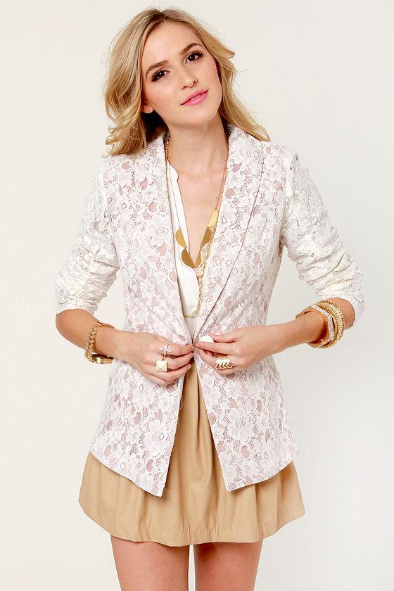 Pretty Lace Blazer - White Blazer - Lace Jacket - $55.00