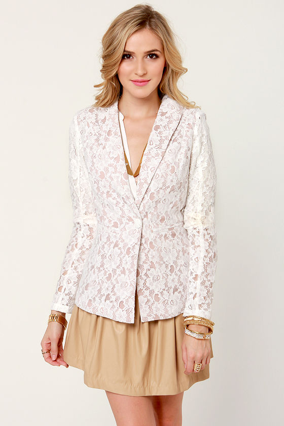Pretty Lace Blazer - White Blazer - Lace Jacket - $55.00