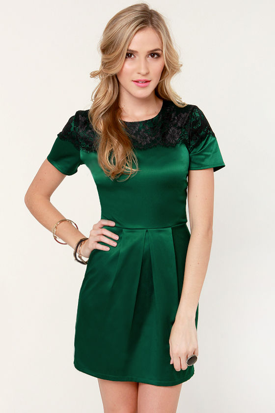 Lovely Satin Dress - Green Dress - Lace Dress - Holiday Dress - $40.00