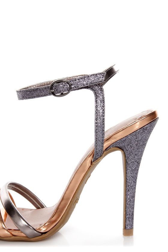Anne Michelle Enzo 03 Rose Gold Metallic and Glitter Heels at Lulus.com!