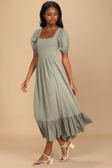 Heart to Heart Olive Green Puff Sleeve Tie-Back Midi Dress