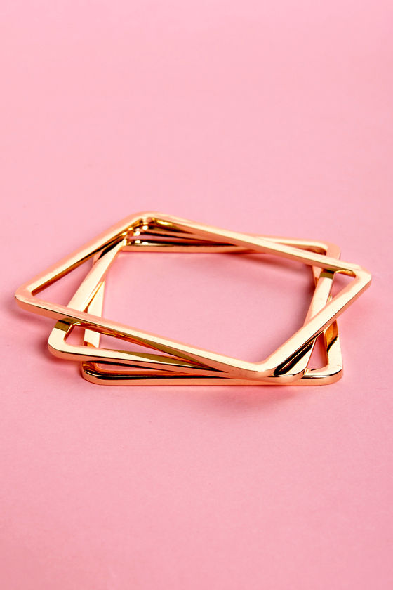 Got You Cornered Gold Bangle Set at Lulus.com!