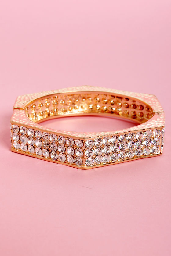 Hexagon Girl Gold Rhinestone Bracelet at Lulus.com!