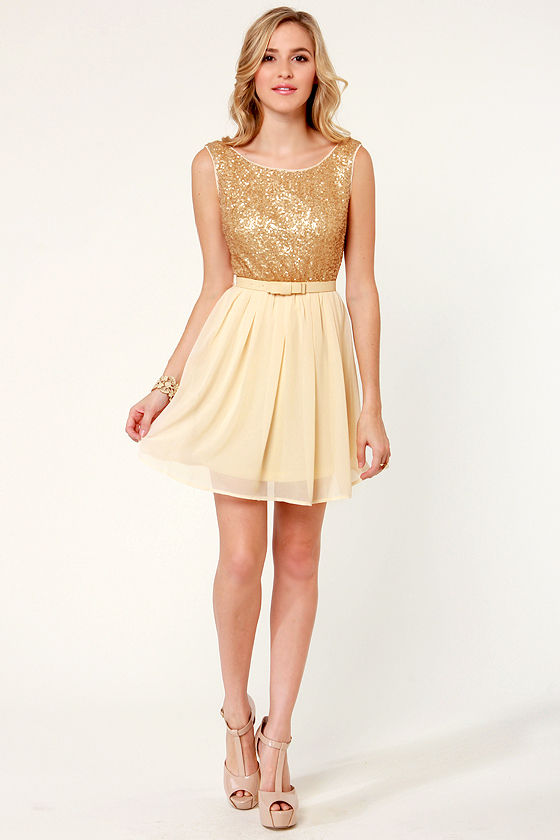Indulgence de Leche Cream and Gold Sequin Dress at Lulus.com!