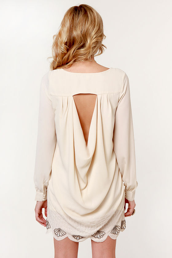 Rise from the East Beaded Cream Dress at Lulus.com!