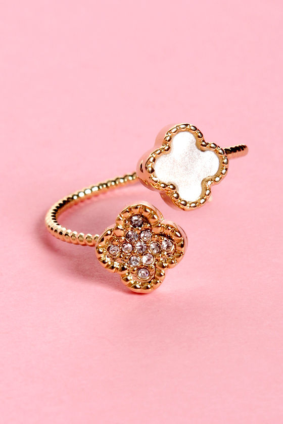 Up in Charms Gold Rhinestone Ring at Lulus.com!