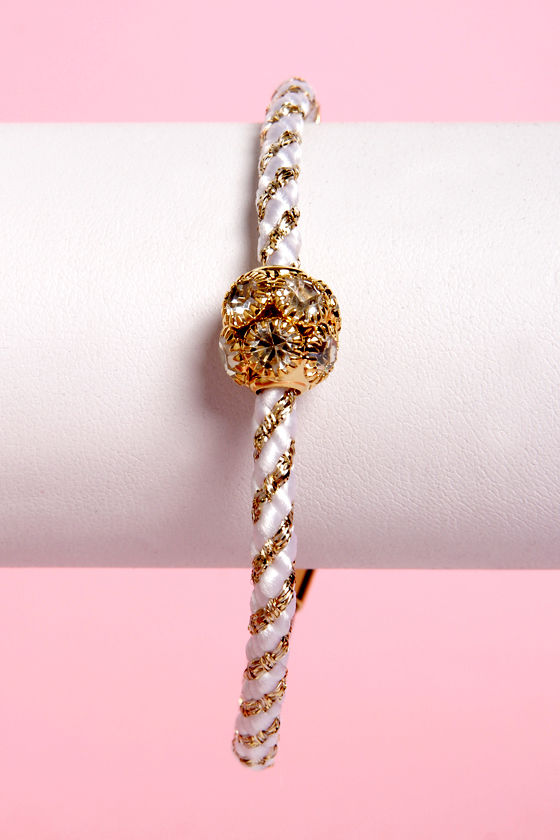 Golden Rules White and Gold Friendship Bracelet at Lulus.com!