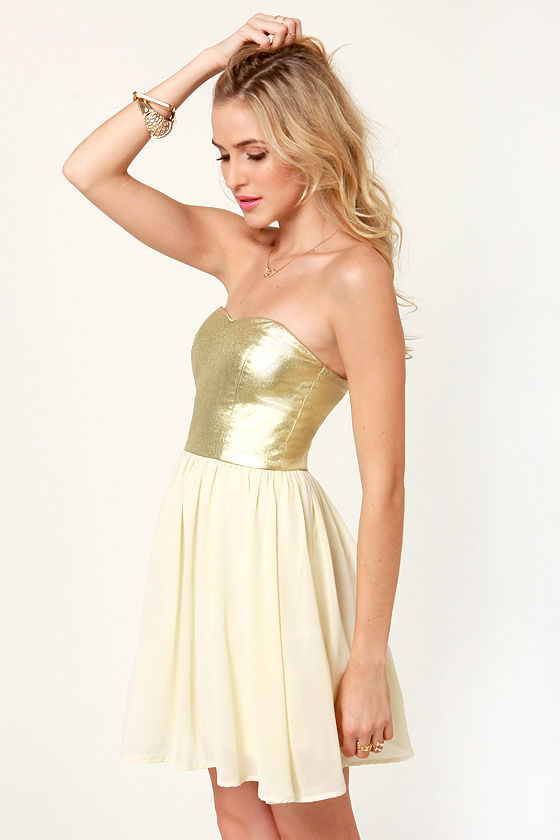 By De-Shine Cream and Metallic Gold Dress at Lulus.com!