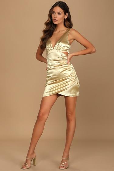 Glamorous Night Out Gold Satin Cutout Bodycon Mini Dress