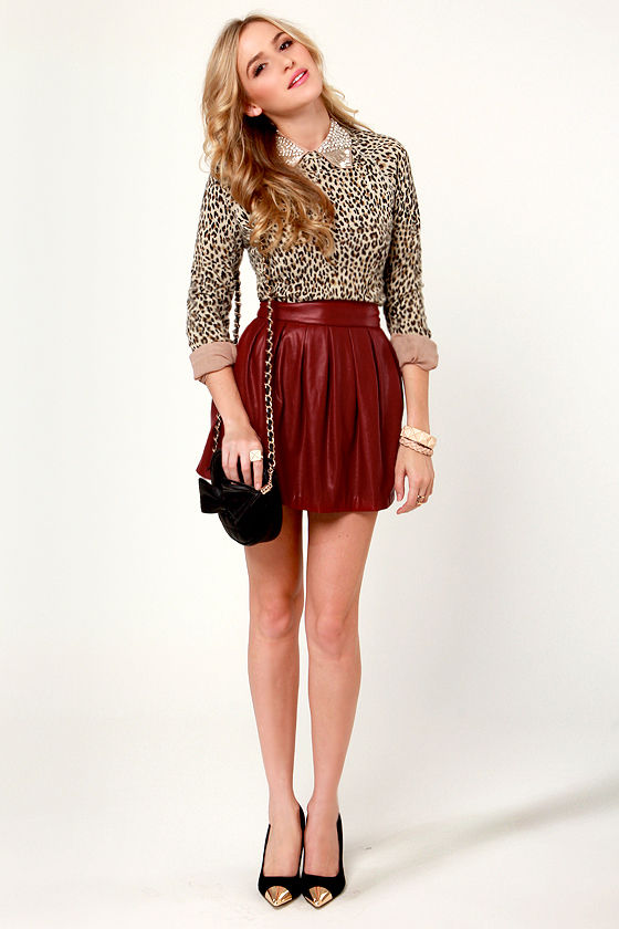Pleat Fleet Wine Red Vegan Leather Skirt at Lulus.com!
