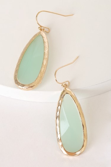 Sugarcoated Gold and Mint Green Teardrop Stone Earrings