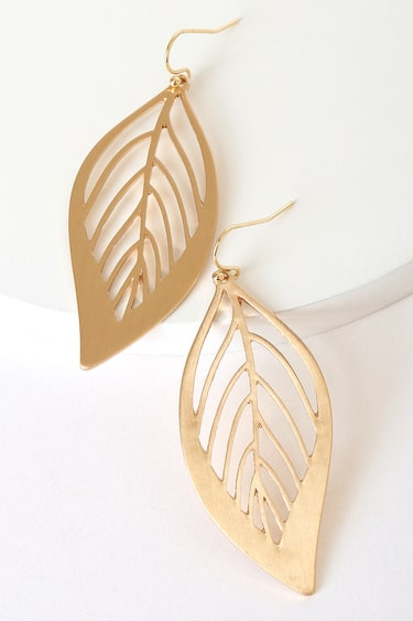 Always Falling for You Gold Leaf Earrings