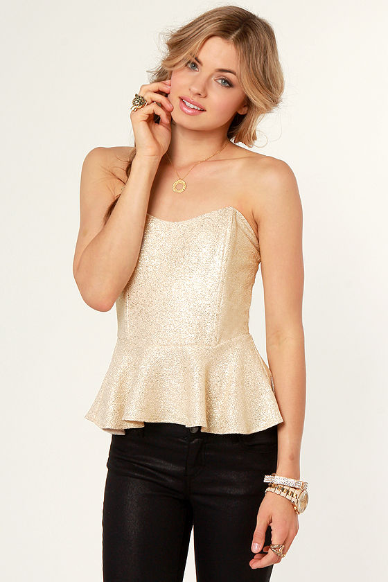 Like a Million Bucks Gold Bustier Top at Lulus.com!