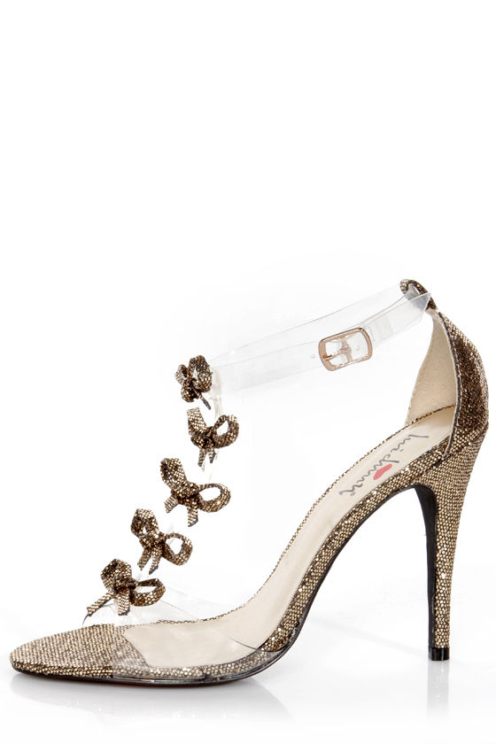 Luichiny Be Dazzled Gold Glitter and Lucite Floating Bow Heels -  77.00