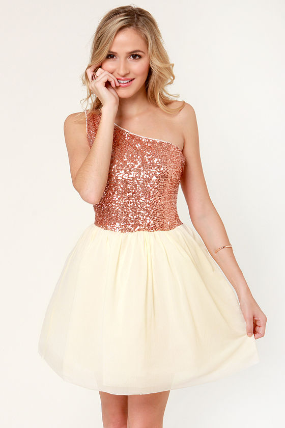 Fancy Rose Gold Dress Sequin Dress One Shoulder Dress