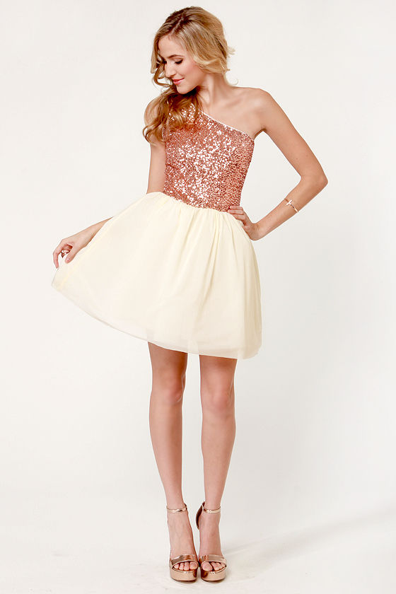 Waltz in a Name Rose Gold Sequin Dress at Lulus.com!
